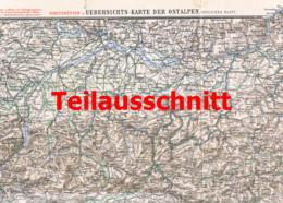 110 Übersichtskarte Ostalpen Schutzhütten Beilage Zeitschrift 1901 !!! - Geographical Maps