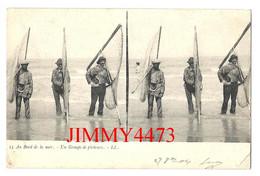 CPA Stéréo - Un Groupe De Pêcheurs Au Bord De La Mer - Tampon Au Dos Bordeaux En 1904 - N° 15 - L L - Cartoline Stereoscopiche