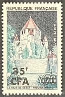 France YT 361 - Série Touristique - Tour De César à Provins - 70c Surcharged 35f CFA MNH Stamp 1963-65 - FRACFA361MNH - Ongebruikt