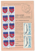 1969 - TIMBRE ARMOIRIE SAINT LO N° 1510 + POSTE AERIENNE 42 Sur ORDRE DE REEXPEDITION CAD HABSHEIM HAUT RHIN - 1961-....