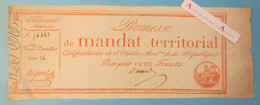 Promesse De Mandat Territorial - Bon Pour Cent Francs 100F - Trésorerie Nationale - Série 14 - N° 56483 - Assignats