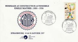 HOMMAGE AU CONSTRUCTEUR AUTOMOBILE EMILE MATHIS à STRASBOURG 1997 - Gedenkstempels