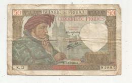 Billet , France , 5-9-1940 , CINQUANTE FRANCS , 50 Francs , 2 Scans , JACQUES COEUR ,frais Fr 1.65 € - 50 F 1940-1942 ''Jacques Coeur''