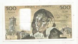 Billet , France , 8-1-1981 , CINQ CENTS FRANCS , 500 Francs , 2 Scans , PASCAL , Frais Fr 2.35 € - 500 F 1968-1993 ''Pascal''