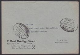 GERA 4 19.2.46 Brief Mit Barfreimachung Von Kohlen- Und Fuhrgeschäft Ortsbief An Handelskammer - Zona Soviética