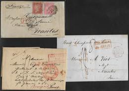"""France - Marcophilie - Lot De 5 Lettres LAC Et 1 Enveloppe Tous """"entrée En France""""  En Provenance De : Angleterre Pour > - 1801-1848: Precursors XIX"""