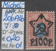 """1922 - RUSSLAND - FM/DM """"Sowjetstern"""" (auf Altruss. Marken) 100 R Auf 15 K (ru 206 AIb 01-02) - Unused Stamps"""