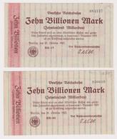 DEUTSCHLAND, Deutsche Reichsbahn Berlin, 2 X 10 Billionen Mark - Other