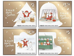 Hong Kong - 2020 - Christmas - Mint Stamp Set With Hot Foil Intaglio Printing - Nuevos