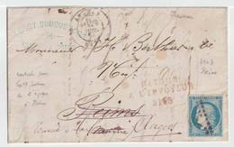 Affranchissement  à 20c  Sur Lettre De Angers Pour Reims, Avec Retour Numéroté - 1870 Siege Of Paris