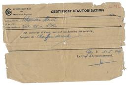 1949 LYON - CERTIFICAT D AUTORISATION CHAUFFEUR DE ROUTE - REGION SUD EST MATERIEL ET TRACTION - SCHNEIDER HENRI - Sonstige