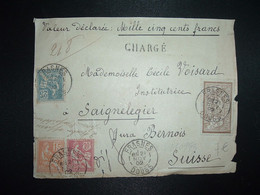 DEVANT Lettre Chargée VD 1500F Pour La SUISSE TP MERSON 50c + MOUCHON 25c + 15c + 10c OBL.21 NOV 02 FRASNES DOUBS (25) - 1900-02 Mouchon
