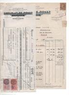 1946 N°681 Cérès Mazelin 2f50 Perforé CR Chocolat De Royat Daguin Facture + Fiscaux 1,50f + 25c Lettre De Change P176 - Perforadas