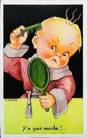 ► CPA Illustration Gougeon  Y'a Pas De Mêche  Coiffure Peigne Miroir   1957 - Gougeon