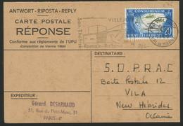 """Timbre De NOUVELLES HEBRIDES Utilisé En FRANCE. Carte Reponse Avec N°216. Obli. Mécanique De Villejuif Le 21/3/1969"""". TB - Storia Postale"""