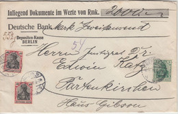 DR - 2x40+5 Pfg. Germania Wertbrief Berlin - Partenkirchen 1916 - Cartas