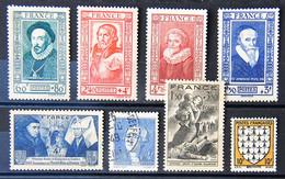France 1943 - Petit Lot De 8 Timbres N° 573-581-583-584-587-589-590-591- Oblitérés Ou Neufs Sans Gomme. - Used Stamps