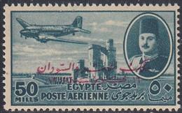 Egypt, Scott #C62, Mint Hinged, King Farouk Delta Dam, And DC-3 Overprinted, Issued 1952 - Posta Aerea