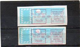FRANCE   2 Timbres De Distributeur  Paris 1985 Et 1986    Papier Carrier - 1985 Papier «Carrier»