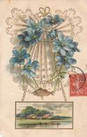 Fêtes Voeux -1er Avril - Carte Gaufrée Dorée - Violettes - 1908 - Erster April
