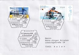 Germany 2010 Cover; Ice Hockey Sur Glace Eishockey; IIHF World Championship: Essen 20. International Stamp Fair - Jockey (sobre Hielo)
