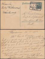 Belgique 1916 - Carte Postale A/timbre  OC12 Censuré De Gand à Destination Gand..... (DD) DC-9862 - [OC1/25] Gov. Gen..