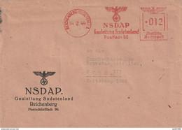 Brief Deutsches Reich NSDAP Gauleitung Sudetenland Reichenberg Vom 14.2.1944 - Cartas