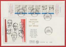 POETES FRANCAIS Du XXéme ( Paul Eluard; André Breton; Louis Aragon; Francis Ponge; Jacques Prévert; René Char ) - Documents Of Postal Services