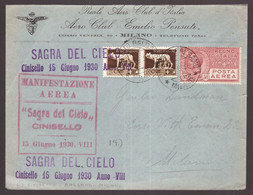 Regno, Busta Commemorativa Sagra Del Cielo Di Cinisello Del 1930 -DC08 - Poststempel (Flugzeuge)