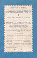 JAUCHE. GOFFIN Emile-Charles. Né Jauche 1863-1890 Diacre à Jauche DP Souvenir Mortuaire - Décès