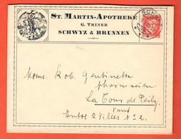 ZGB-08 Umschlag St. Martin-Apotheke Schwyz U. Brunnen 1928 Nach Tour-de-Peils Mit Zeichnung St.-Martin - Cartas