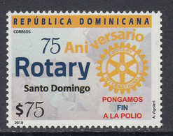 2018 Dominican Republic Rotary International Polio Health Complete Set Of 1 MNH - Dominican Republic