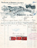 1 Facture  Manufacture De Bouchons Stérilisés Gaston Beguin MARCHIENNE Au PONT  1929 Stoppen Voor Flessen - Wine