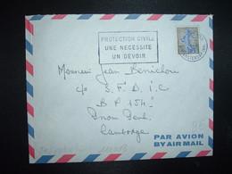LETTRE Pour Le CAMBODGE TP SEMEUSE 0,30 OBL.MEC.21-6 1961 PARIS 118 + OBL. PHNOM PENH - 1903-60 Säerin, Untergrund Schraffiert