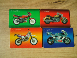 SINGAPORE USED SET 4 CARDS MOTORBIKES ROOD BIKE - Moto