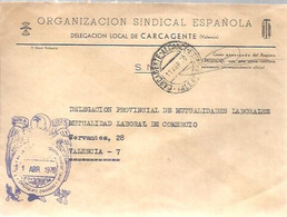 CARTA   1970 GOMIGRAFO .E.T Y LAS J.O.N.S  CARCAGENTE - Franquicia Postal