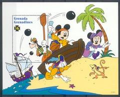 NcbA227 WALT DISNEY MICKEY GOOFY DONALD PIRATENSCHIP AAP MONKEY PALMTREE PIRATES SHIP GRENADA GRENADINES 1995 PF/MNH - Disney