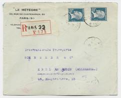 PASTEUR 1FR25X2 LETTRE REC PARIS 22 12.5.1926 POUR ALLEMAGNE AU TARIF AFF PEU COMMUN - 1922-26 Pasteur
