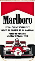 Rare Autocollant Années 70-80 Marlboro 13 Salon Voiture Et Moto De Course 1982 Format 13 X 8 Cm - Stickers