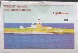 ENGLAND - COQUET IS,  NORTHUMBERLAND - Lighthouse  - Imperf Single Stamp - Mint Never Hinged No Gum - Local Cinderella - Cinderelas