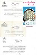 Courriers - Vieux Papiers - Hôtels  ZERMATT ( Suisse)  1966, 3 Lettres Avec Entêtes Et 1 Dépliant; - Covers & Documents