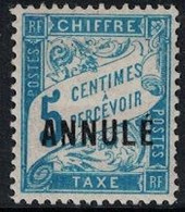 TAXE - 5c BLEU BANDEROLE - SURCHARGE ANNULE - NEUF CHARNIERE - COTE 45€. - Instructional Courses