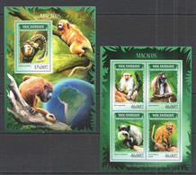 ST2393 2014 MOZAMBIQUE MOCAMBIQUE FAUNA ANIMALS MONKEYS MACACOS KB+BL MNH - Apen