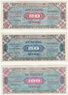 Lot De 3 Billets - Allemagne - 20 Mark - 50 Mark - 100 Mark - 1945/49 Occupation Des Alliés Lot De 3 Billets - Allemagne - Unclassified