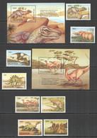 RR597 1992 UGANDA FAUNA DINOSAURS #1064-71 MICHEL 35 EURO 1SET+2BL MNH - Prehistorics