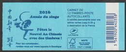 """France 2015 - Carnet 12 Timbres** Adhésifs Type """"Marianne Et La Jeunesse"""" Couverture Bleue """"2016 Année Du Singe Neuf** - Usados Corriente"""