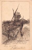 PARIS 18 -  MONTMARTRE  - Moulin DEBARY Vu De La Rue LEPIC ( Carte Ancienne Illustrée Par Eugene DELATTRE ) - Distrito: 18