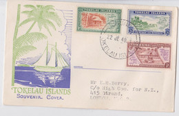 Tokelau Islands Enveloppe Illustrée Timbre Fakaofo Atafu Nukunono Stamp Cancellation FDC Souvenir Cover 1948 Samoa Apia - Tokelau