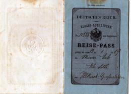 DEUTSCHES  REICH -  ELSASS - LOTHRINGEN -  REISE - PASS - PASSEPORT  ALSACE - LORRAINE - 1918/ 1919 - Historical Documents