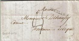 Précurseur De GOSSELIES Du 23 Novembre 1828 Avec Griffe CHARLEROY Vers FONTAINE-L'EVEQUE - 1815-1830 (Holländische Periode)